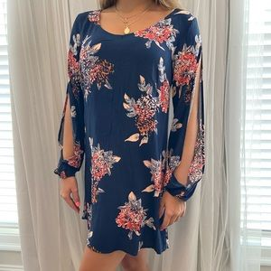 Floral Dress with Open sleeves